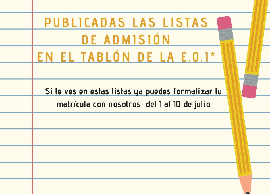 Publicadas las listas de admitido/as para el curso 20/21