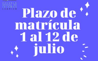 PLAZO DE  MATRICULACIÓN