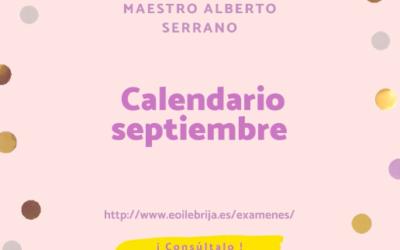 Publicado calendario exámenes septiembre